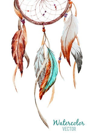 a feather: Beautiful vector image with nice watercolor dreamcatcher Illustration