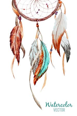 pluma: Imagen hermosa del vector con buen atrapasue�os acuarela