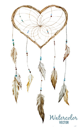 catcher: Beautiful vector image with nice watercolor dreamcatcher Illustration