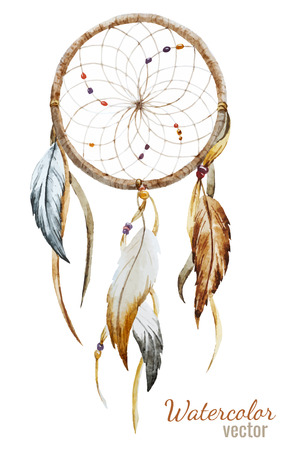 native bird: Beautiful vector image with nice watercolor dreamcatcher Illustration