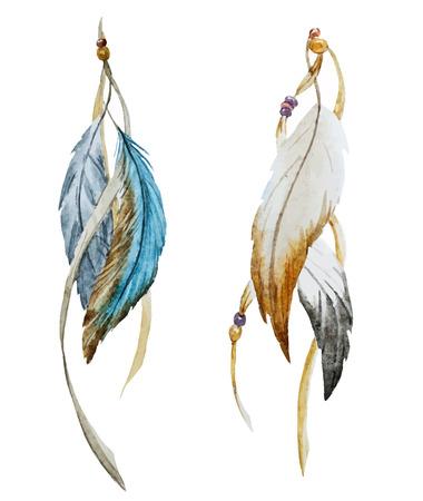 indios americanos: Imagen hermosa del vector con agradable pluma acuarela