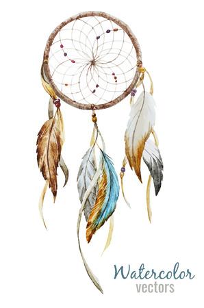 white feather: Bella immagine di vettore con bel acquerello dreamcatcher