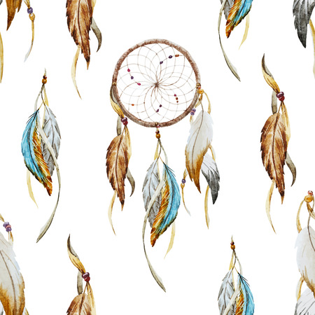Beautiful vector pattern with nice watercolor dreamcatcher Stock Illustratie