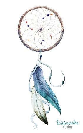 素晴らしい水彩画ドリーム キャッチャーと美しいベクトル画像 写真素材 - 38368455