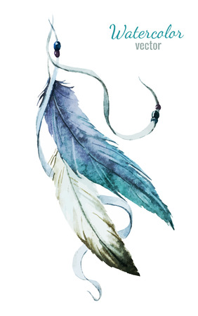 native american art: Beautiful vector image with nice watercolor feather Illustration