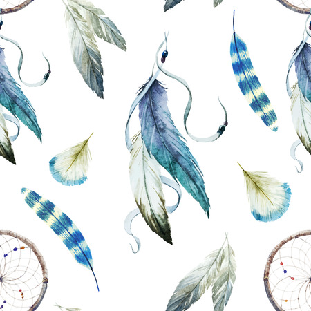 a feather: Beautiful vector pattern with nice watercolor dreamcatcher Illustration
