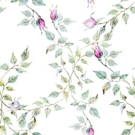 優しい水彩バラの美しいベクトル パターン  イラスト・ベクター素材