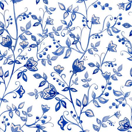 Prachtige vector patroon met waterverf blauwe bloemen