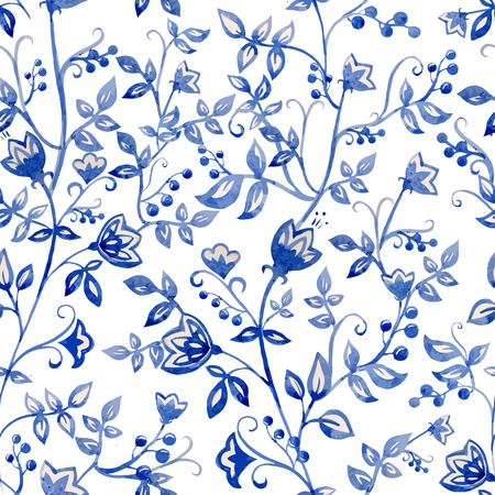 Beautiful vector pattern with watercolor blue flowers Illustration
