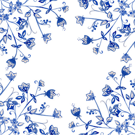 pastel like: Beautiful vector ornament with watercolor blue flowers Illustration
