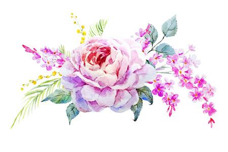 Mooie vector afbeelding met mooie waterverf van rozen Stock Illustratie