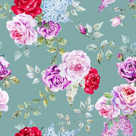 素敵な水彩画のバラで美しいベクター パターン