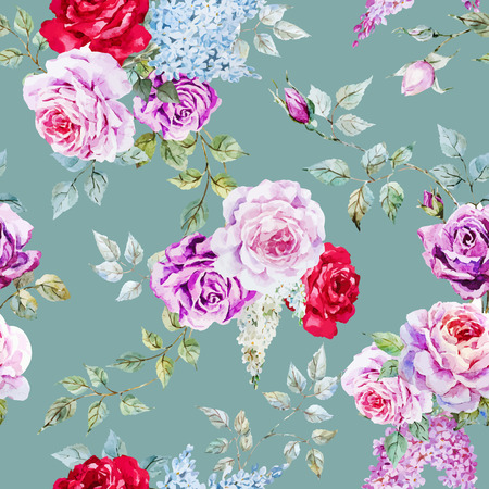 Beautiful vector pattern with nice watercolor roses Фото со стока - 38368489