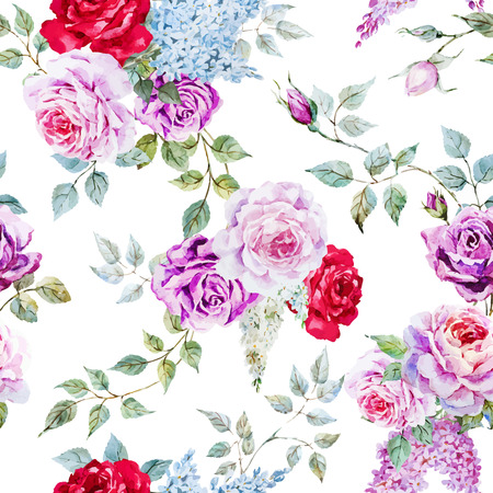 Beautiful vector pattern with nice watercolor roses Vettoriali