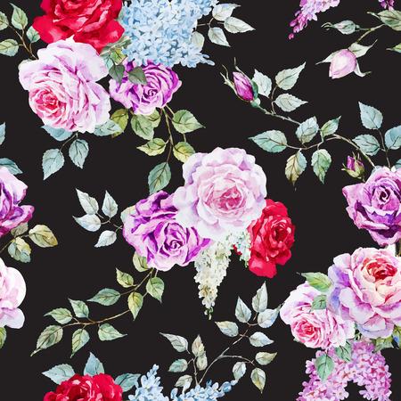 Prachtige vector patroon met mooie aquarel rozen