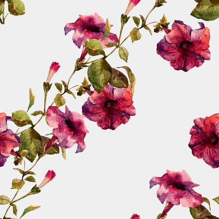 petunia: Beautiful vector pattern with nice petunia flowers
