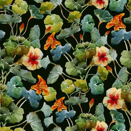 nasturtium: Beautiful vector pattern with nice watercolor nasturtium