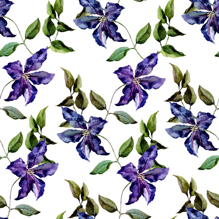 clematis: Beautiful vector pattern with nice clematis flowers