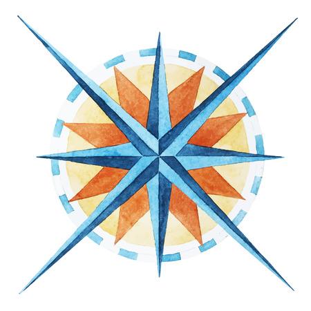 素晴らしい水彩画風ローズ コンパスと美しいベクトル画像  イラスト・ベクター素材