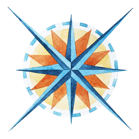 Beautiful vector image with nice watercolor wind rose compass Illustration