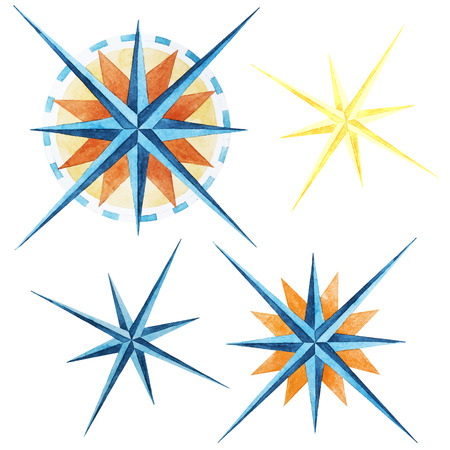 wind rose: Beautiful vector image with nice watercolor wind rose compass Illustration