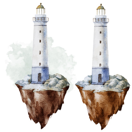 Beautiful vector image with nice watercolor lighthouse