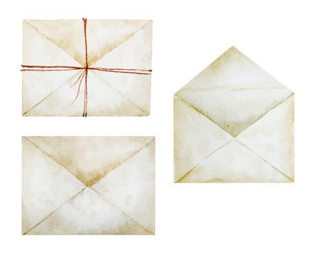 좋은 수채화 봉투와 함께 아름 다운 벡터 이미지