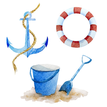 anchor drawing: Beautiful vector image with watercolor beach things