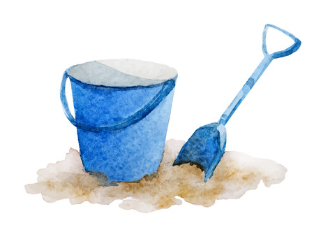 Beautiful vector image with watercolor beach things