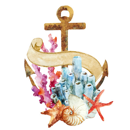 crab: Beautiful vector image with nice watercolor anchor with corals Illustration