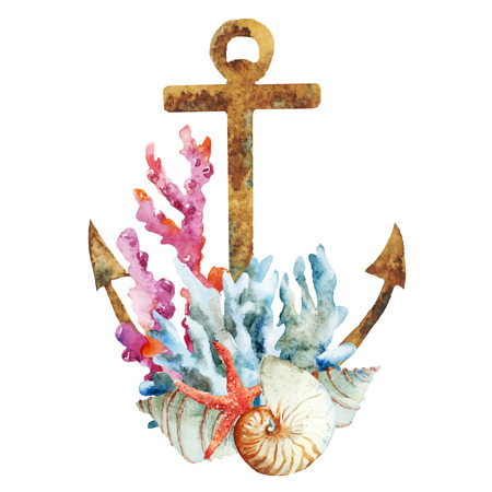 Beautiful vector image with nice watercolor anchor with corals Çizim