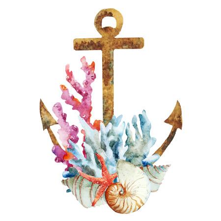 ancla: Imagen hermosa del vector con buen anclaje de la acuarela con los corales Vectores