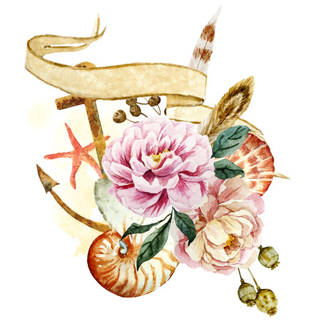 anchor: Beautiful vector image with nice underwater watercolor composition Illustration