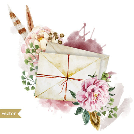 ho: Beautiful vector image with nice watercolor envelopes with flowers