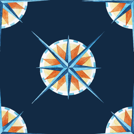 the wind rose: Beautiful vector pattern with nice watercolor wind rose.