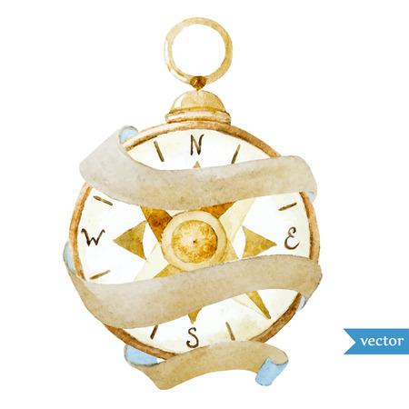 compas de dibujo: Imagen hermosa del vector con bonitas brújula acuarela