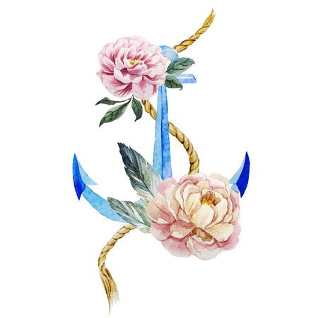 Mooie vector afbeelding met mooie aquarel anker met bloemen