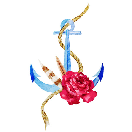 anchor: Beautiful vector image with nice watercolor anchor with flowers Illustration