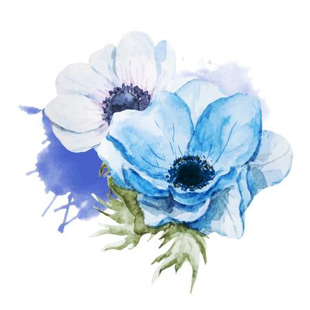 Mooie vector afbeelding met mooie aquarel anemonen bloemen Stock Illustratie