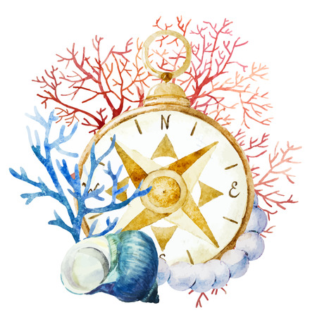 Beautiful vector image with nice watercolor compass with corals 版權商用圖片 - 38814864