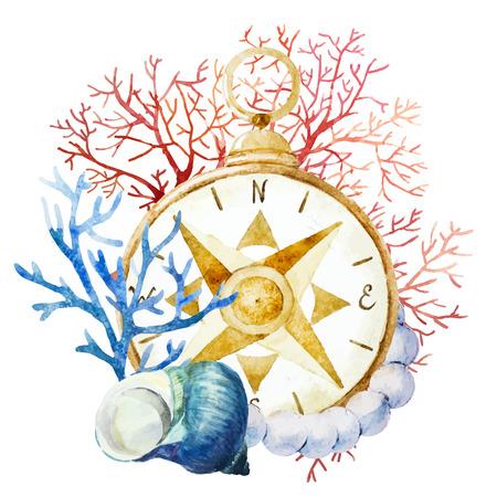 Schöne Vektor-Bild mit schönen Aquarell Kompass mit Korallen Standard-Bild - 38814864