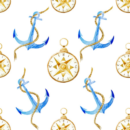 anchor marine: Beautiful vector pattern with nice watercolor anchor pattern