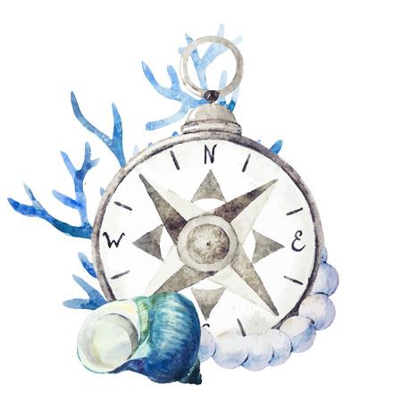 brujula: Imagen hermosa del vector con buen compás de la acuarela con corales