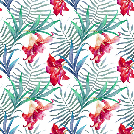 orange lily: Beautiful vector pattern with watercolor tropical flowers