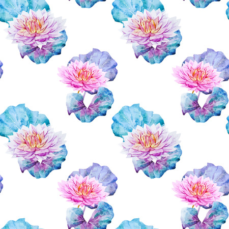 water lilies: Beautiful vector pattern with watercolor lotus flowers