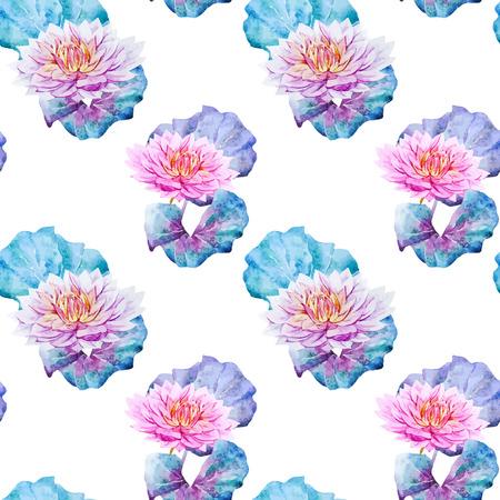 flor loto: Modelo hermoso del vector de flores de loto de la acuarela