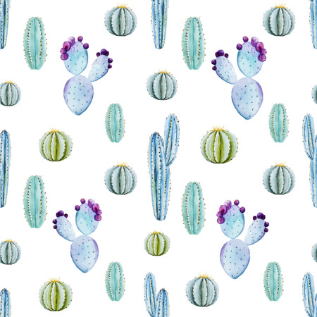 botanical: Beautiful vector pattern with nice watercolor cactus peyote