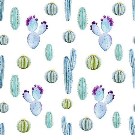 Beautiful vector pattern with nice watercolor cactus peyote Vector Illustration
