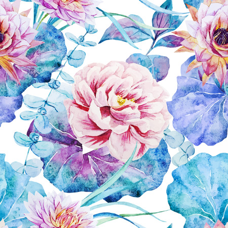 Beautiful vector pattern with nice watercolor flowers Vector