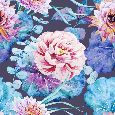 Beautiful vector pattern with nice watercolor flowers Иллюстрация